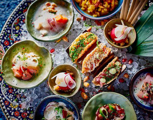 Food arranged on a table