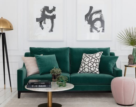 luxurious green sofa in stylish modern living space