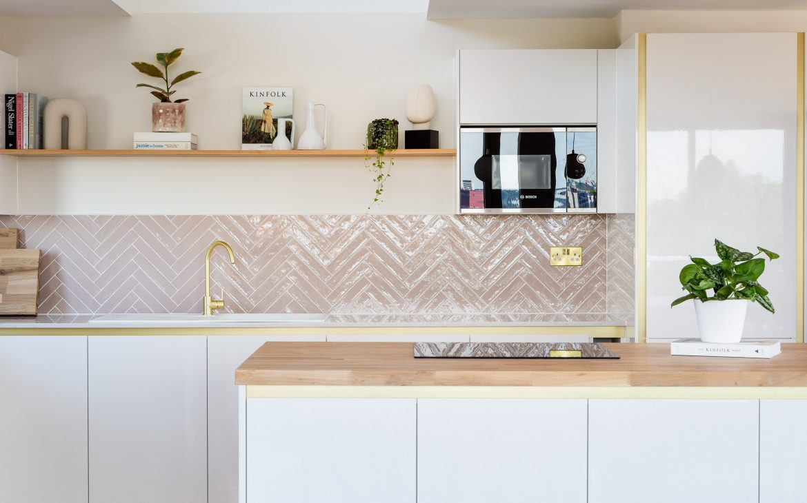 a contemporary pink and white  kitchen