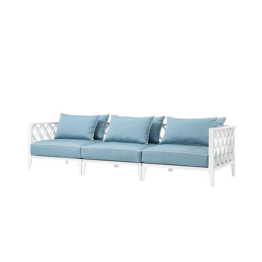 blue and white garden sofa