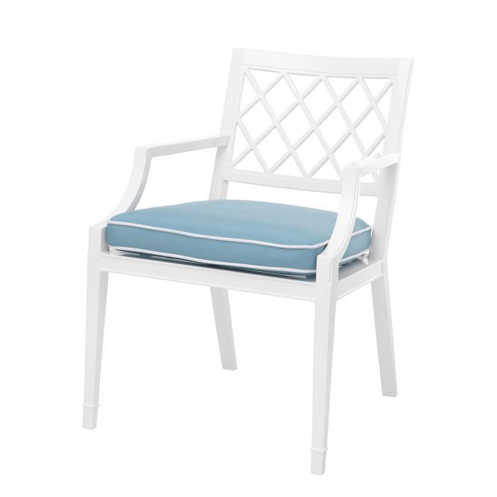 white and blue dining chair