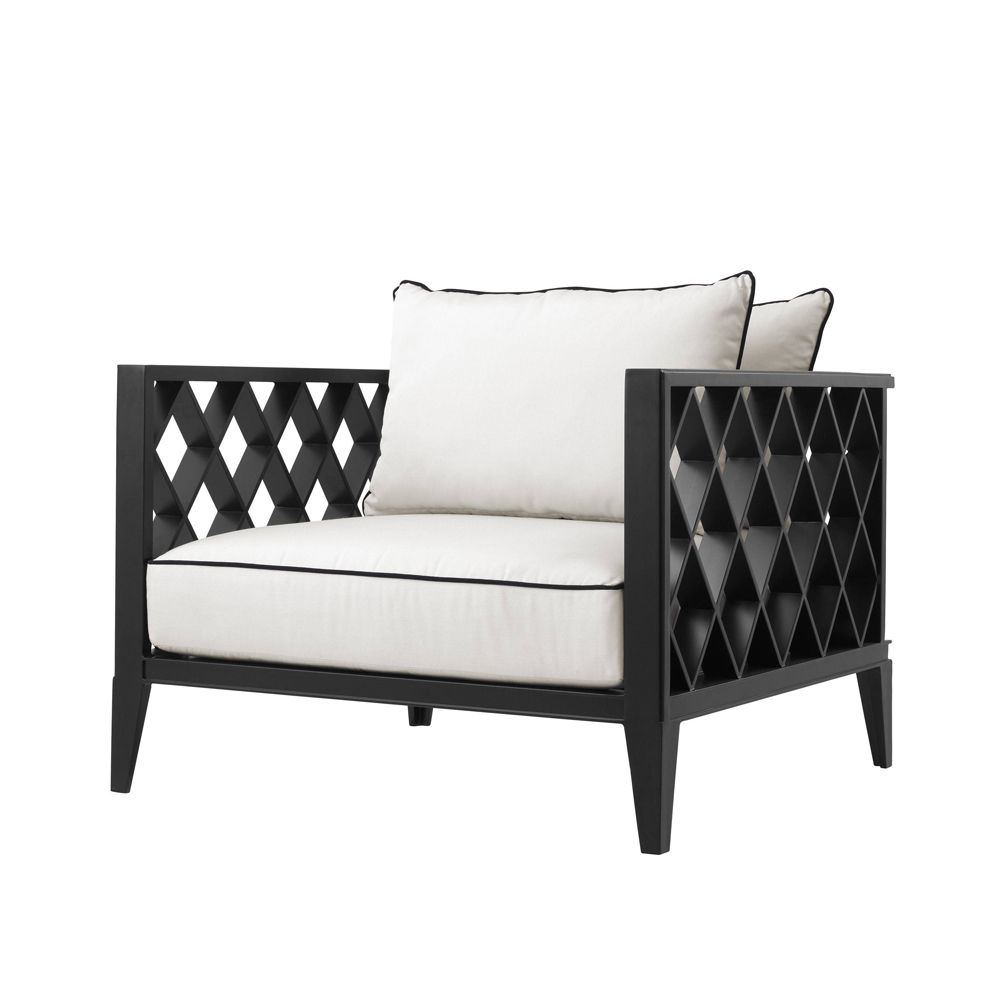 black and white garden chair