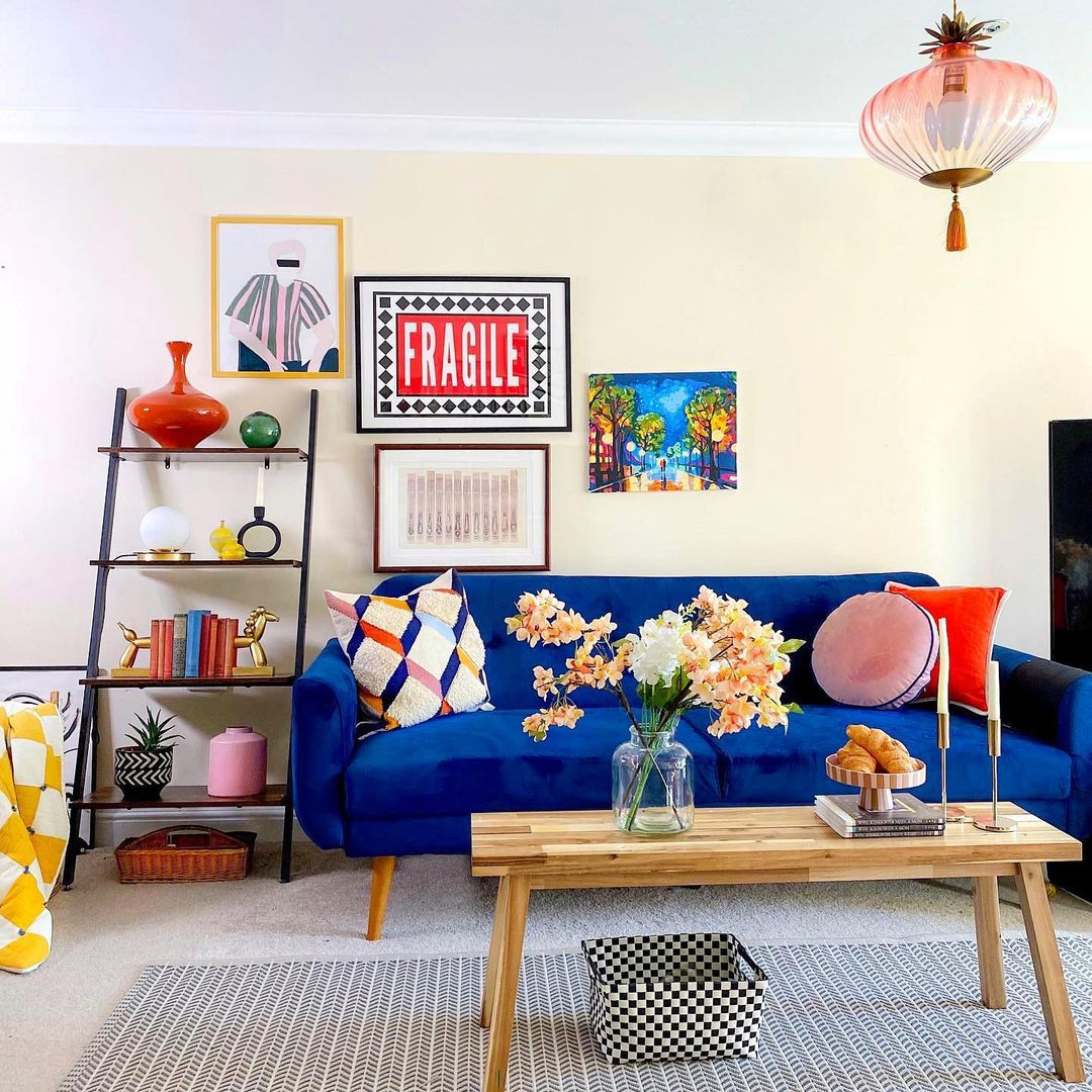 a glamorous colourful living space