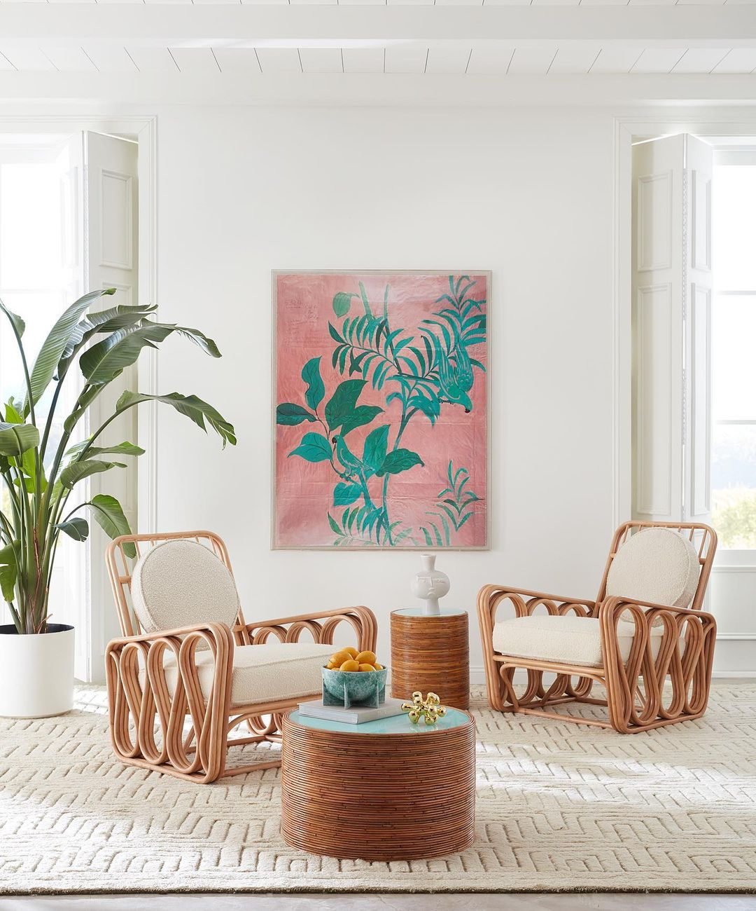 a stylish Riviera-themed interior space