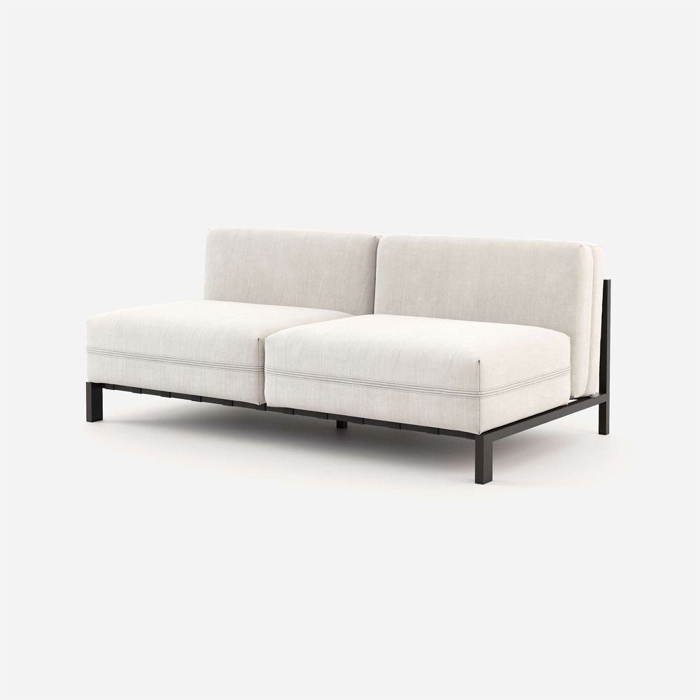luxurious black and natural armeless sofa
