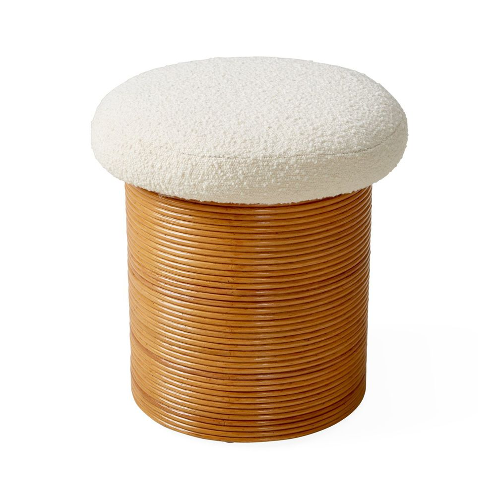 rattan and boucle pouffe