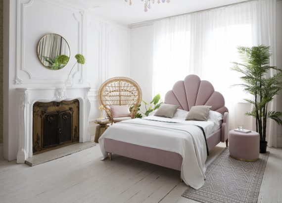 A luxurious pink summery bedroom