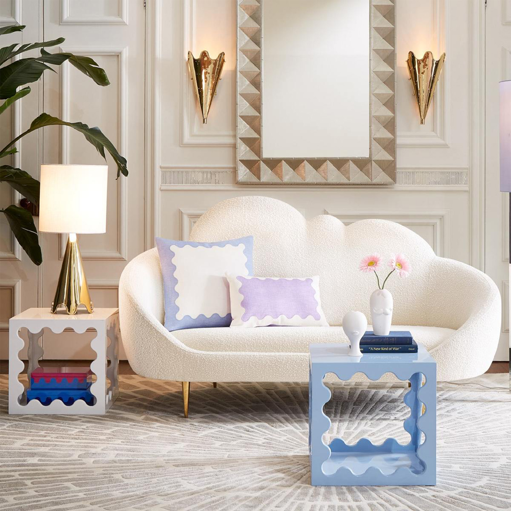 a luxurious pastel-themed living room