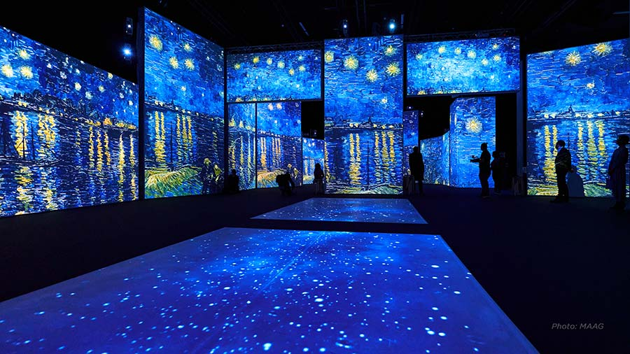 A stunning photograph of the immersive van gogh exhibition
