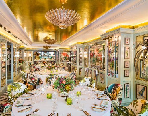 a luxurious floral restaurant