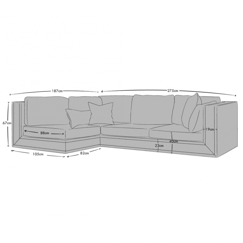 Corner Sofa Left Hand Facing - Small