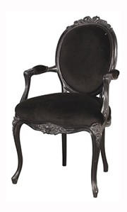 Black Rococo Bedroom Chair