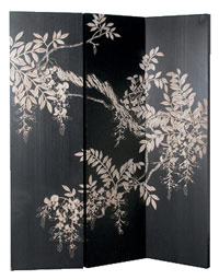 Midnight Garden Hand Carved Dressing Screen